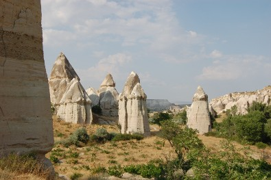 The rock formations Cappadocia is famous for.