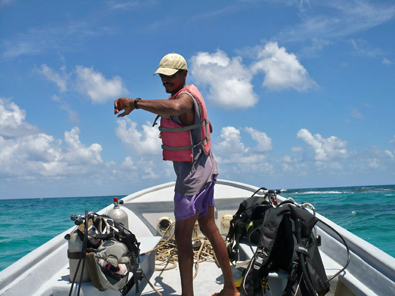 On the dive boat, Belize