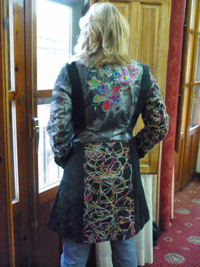 Fabulous Techni-color coat: Even better from the back