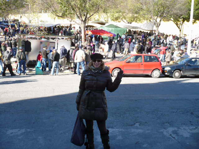 "Erin at Alfama's flea market, hunting for European ""charm"" to take  home"